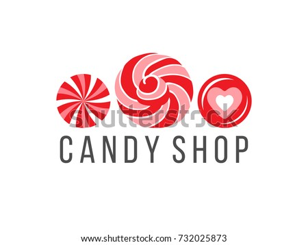candy shop logo with 3 candies...