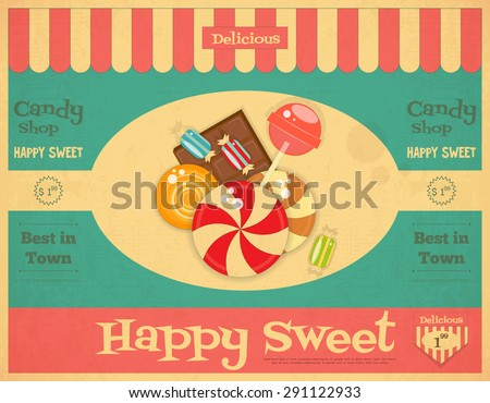 candy shop retro poster in