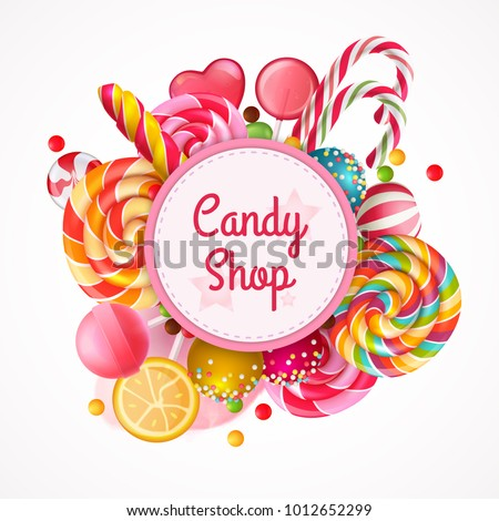 candy shop round frame