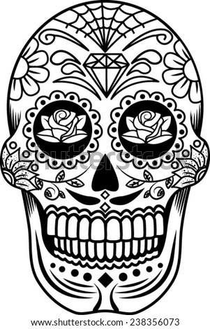 candy skull black and white