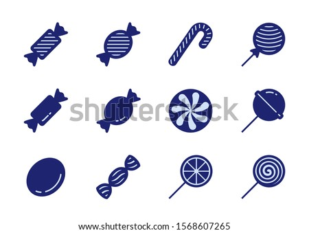 Candy Vector Icon Set in Glyph Style