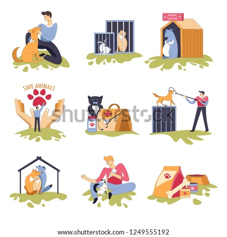 Canine and feline shelter dogs and cats house