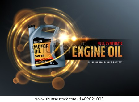 Canister of engine motor oil, full synthetic clinging molecules protection. Vector vehicle engine lubricant oil change logo with blurred golden bubbles. Promotion and advertisement of car oils