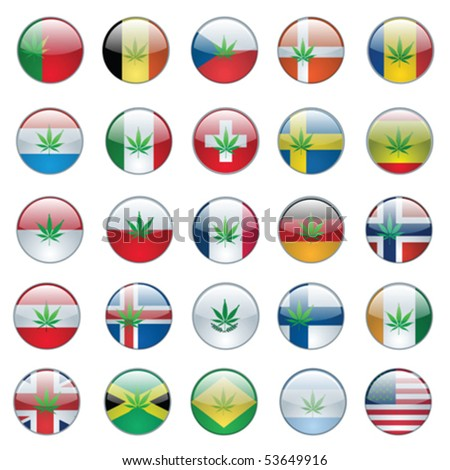 cannabis buttons set with flag