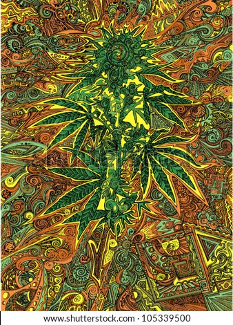 Cannabis Flowers in Psychedelic Color