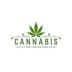 Cannabis Green vintage badge Logo Design