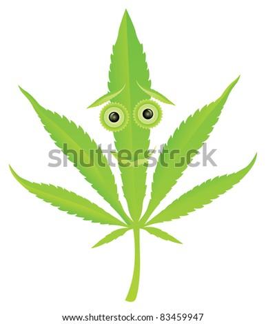 cannabis leaf happy face