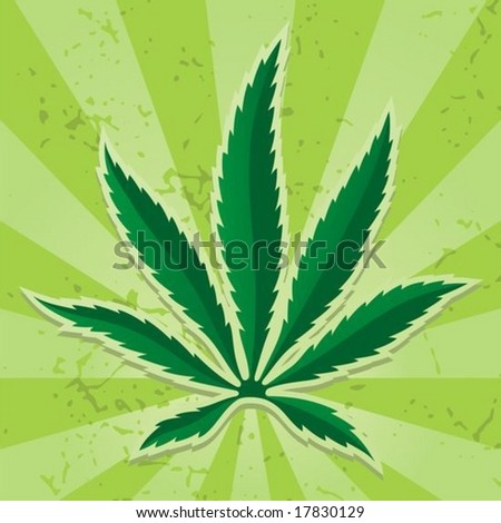 cannabis leaf icon on grunge