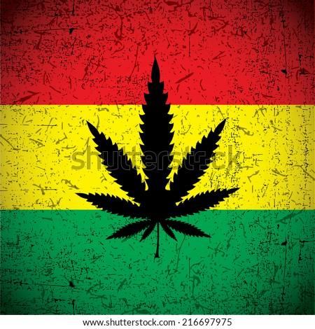 cannabis leaf on grunge