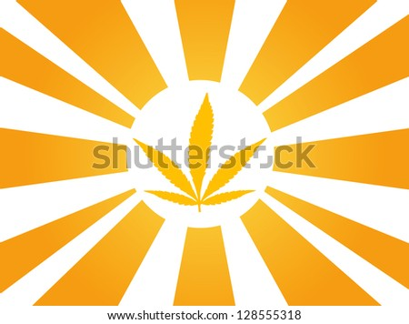 cannabis leaf sun ray