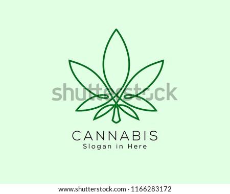 cannabis line art logo