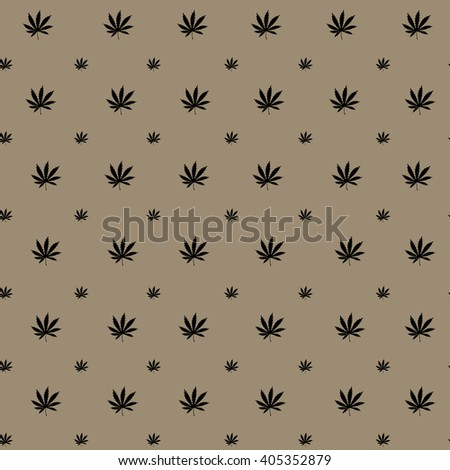 Cannabis (Marijuana) Leaf Flat Icon for Apps and Websites. Seamless Marijuana Background-vector. Vector Silhouette of a Hemp Leaf. Cannabis Plant Seamless Pattern.