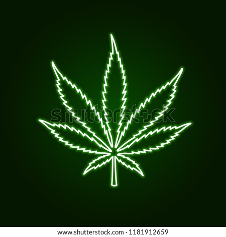 Cannabis marijuana neon sign on dark background. Green glow emblem print t-shirt design. Vector illustration.