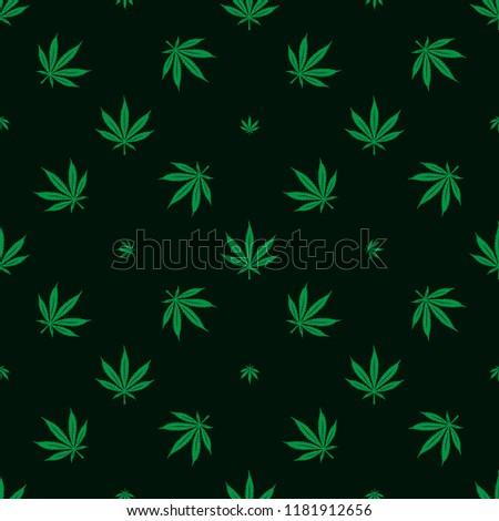 Cannabis marijuana seamless pattern. Minimalist style decorative elements for apparel design prints wrapping paper. Vector illustration.