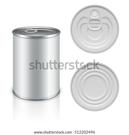 Canned metal packaging vector template for your design. Aluminum canned for food, steel package closed for storage illustration