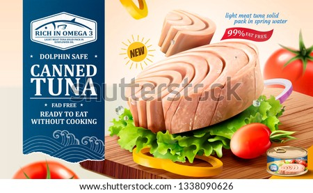 Canned tuna ads with fresh vegetables on chopping board in 3d illustration