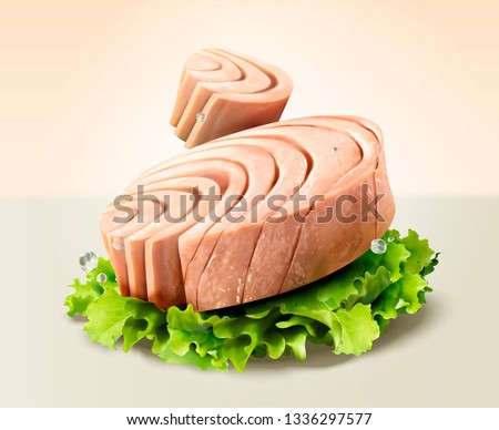 Canned tuna with lettuce in 3d illustration Foto d'archivio ©