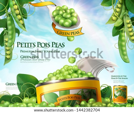 Canned young pea ads poster with spoonful of fresh peas in 3d illustration, blue sky background