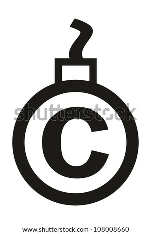Cannonball-shaped copyright sign - conceptual vector illustration