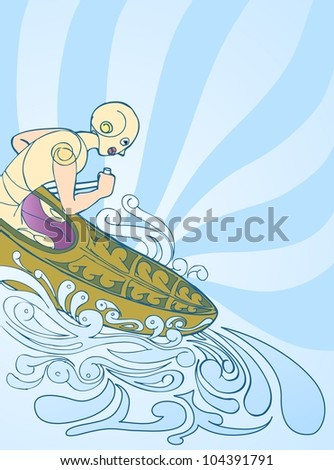 canoe athlete in blue ray and splash water hand draw background