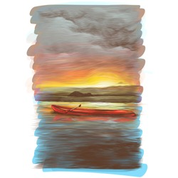 canoe floats on the water at sunset which is beautifully reflected in the water, sketch vector graphics color illustration