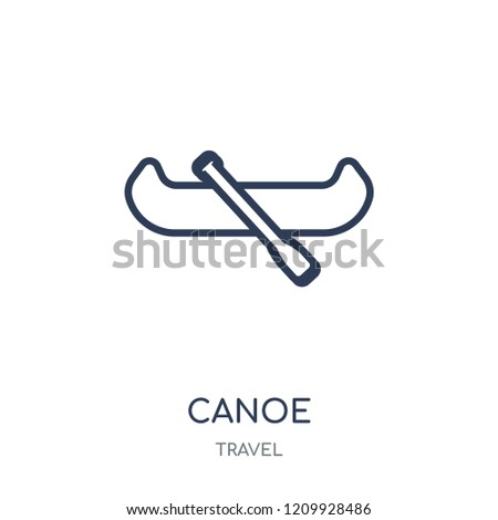 Canoe icon. Canoe linear symbol design from Travel collection. Simple outline element vector illustration on white background.