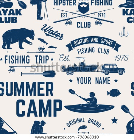 Canoe, Kayak and fishing Club seamless pattern. Vector illustration. Concept for shirt, print, stamp, badge or tee. Vintage typography design with kayaker and fisher silhouette. Water Extreme sport.