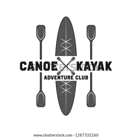 canoeing and kayaking sport activity logo, emblems and insignia. vector illustration