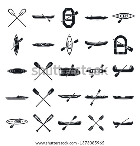 Canoeing sport icons set. Simple set of canoeing sport vector icons for web design on white background