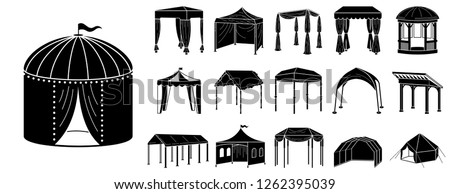 Canopy icon set. Simple set of canopy vector icons for web design on white background