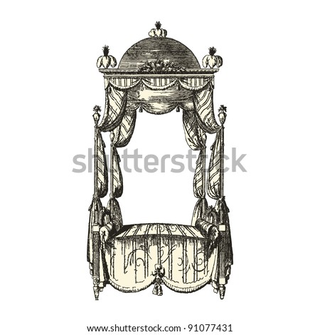 "Canopy 18th century style - Vintage engraved illustration - ""Le Mobilier"" Ed.Edouard Rouveyre  in 1915 France"