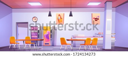 Canteen interior in school, college or office. Vector cartoon illustration of cafeteria, dining room in university, cafe with tables and chairs, counter bar and vending machines with food and drink