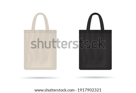 Canvas bag. mockup of fabric tote. Cloth totebag with handle. template of black and white cotton eco bag. Reusable tote for shopping. Blank mock for shopper. Ecobag for grocery. Vector.
