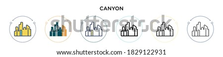 canyon icon in filled  thin