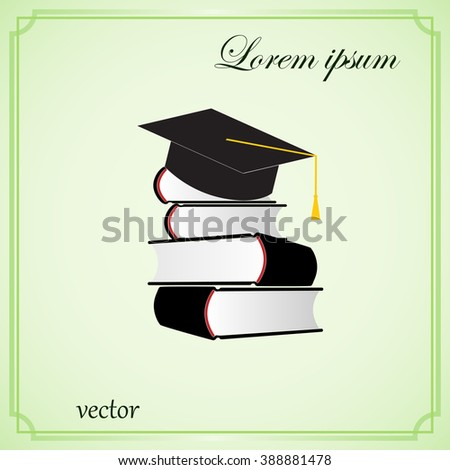 cap and book, education icon