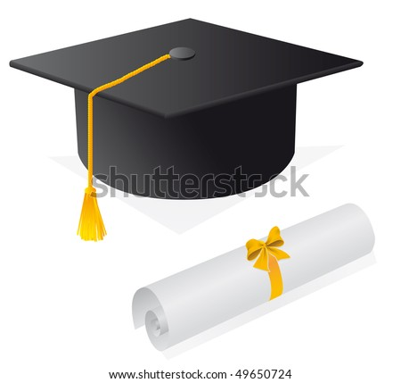 Cap and diploma for the student. Vector illustration