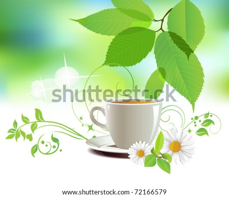 Cap of tea.  All elements and textures are individual objects. Vector illustration scale to any size.