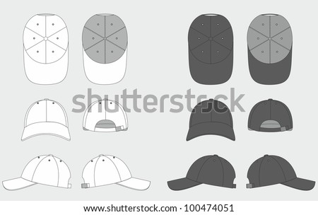 Vector Images, Illustrations and Cliparts: Cap template ...