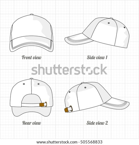 cap template set, front, side, back view. Vector eps 8 illustration.