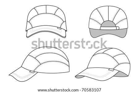 Cap vector illustration featured front, back, side, isolated on background