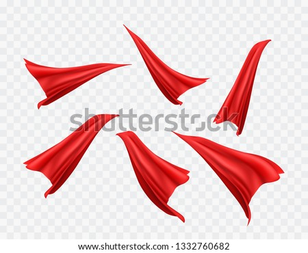 Cape set isolated on transparent background. Red superhero cloak. Vector super hero cloth or silk flying cape template.