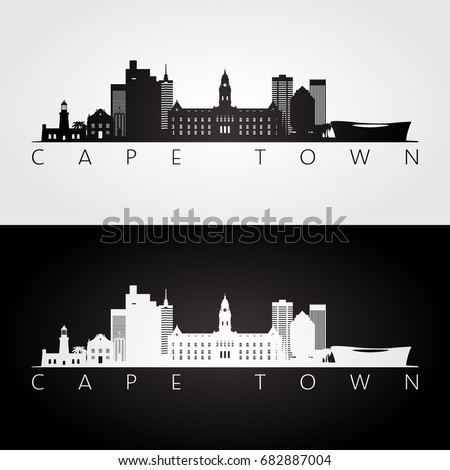 Cape Town skyline and landmarks silhouette, black and white design, vector illustration.