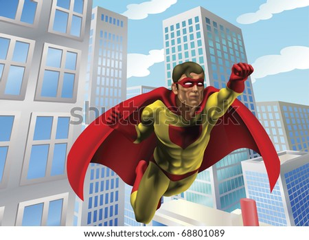 Caped super hero flying through the air in a city scene