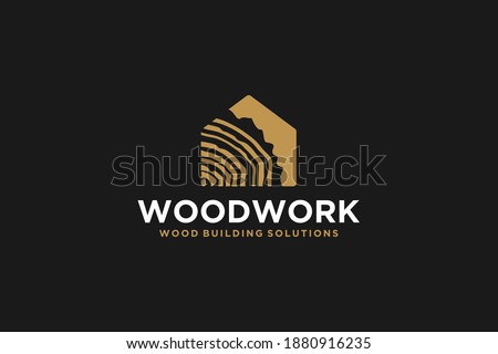 Capenter industry logo design - wood log, timber plank wood, woodwork handyman, wood house builder. simple minimalist icon.