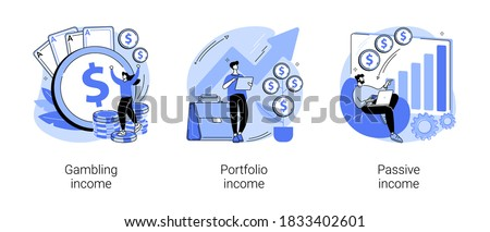 Capital gain abstract concept vector illustration set. Gambling, portfolio and passive income, online casino, investments and bonds, cash flow, money slot, mutual fund, finance abstract metaphor.