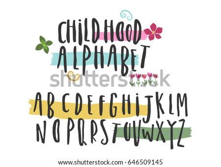 Capital hand painted font. Vector brush pen black alphabet on white background.