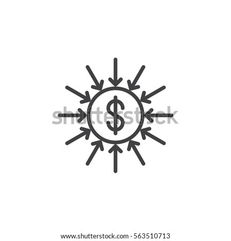 Capital inflow line icon, outline vector sign, linear pictogram isolated on white. Symbol, logo illustration