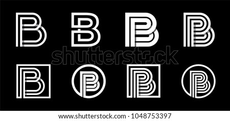 Capital letter B. Modern set for monograms, logos, emblems, initials. Made of white stripes Overlapping with shadows