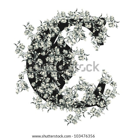 Capital letter C from flowers in vector.