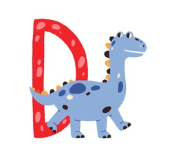 Capital letter D of childish English alphabet with cute baby dinosaur. Kids font with funny animal for kindergarten and preschool education. Hand-drawn flat vector illustration isolated on white.